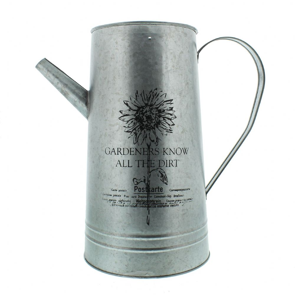 Country Garden Rustic Metal Kettle Vase Watering Can